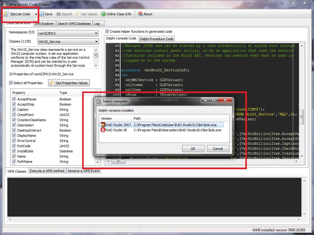 WMI Delphi Code Creator – New Features | The Road to Delphi