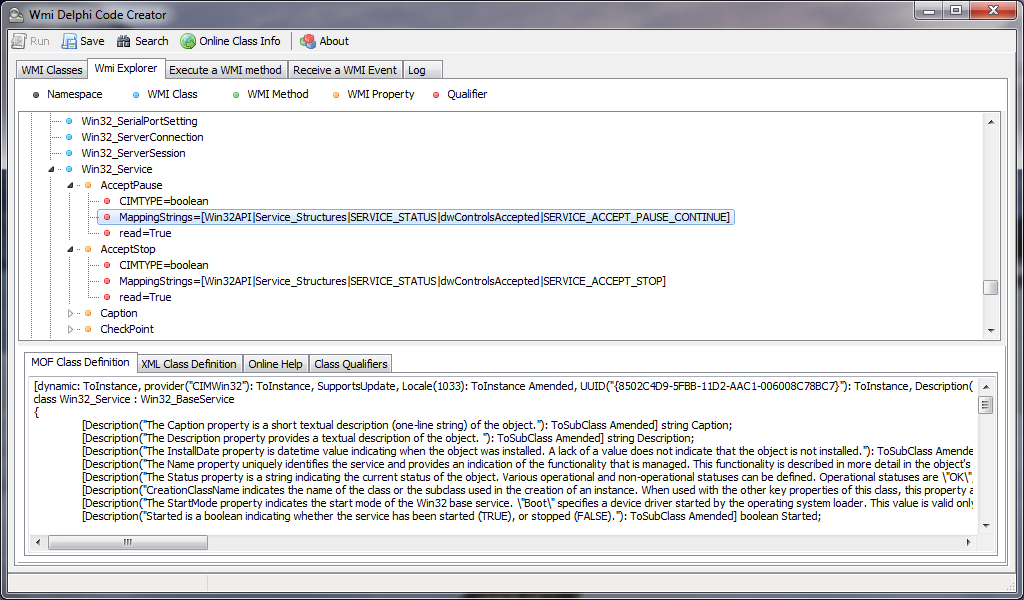 Full WMI Delphi Code Creator screenshot