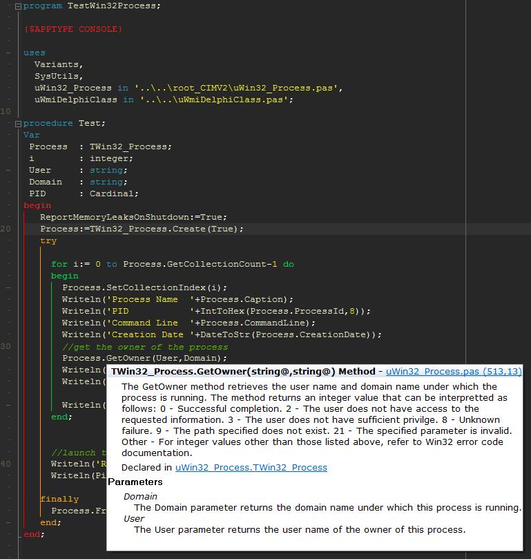 A New project – Delphi (Object Pascal) WMI class code