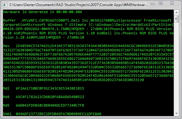 """Generating a """"unique"""" hardware ID using Delphi and the WMI"""
