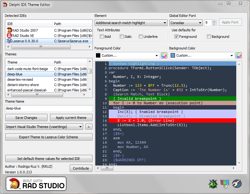 Delphi IDE Theme Editor – Now supports Lazarus | The Road to