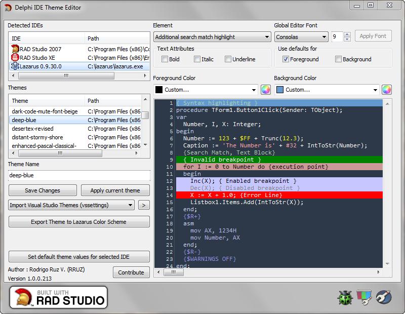Delphi IDE Theme Editor – Now supports Lazarus | The Road to Delphi